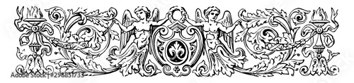 Pictorial Banner have two cherubs or torches and a shield vintage engraving Wallpaper Mural