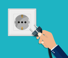 Hand Disconnecting Electric Plug. Man Unplug Electrical Power Socket. Energy Cable Off. Flat Safety Concept. Connect Plug In Wall Socket. Switch Appliance Of Equipment. Vector