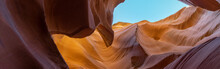 Colorful Wave Shape Rocks At The Antelope Canyon, Arizona, USA - Background And Texture Concept