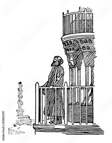 Fototapeta  Muezzin vintage illustration.