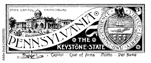 The state banner of Pennsylvania the keystone state vintage illustration Canvas Print