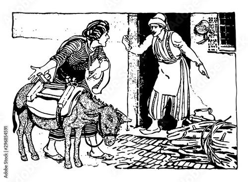 Ali The Barber of Bagdad vintage illustration Fototapet