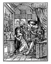 The Nun Is Part Of A Series Called The Dance Of Death Vintage Engraving.