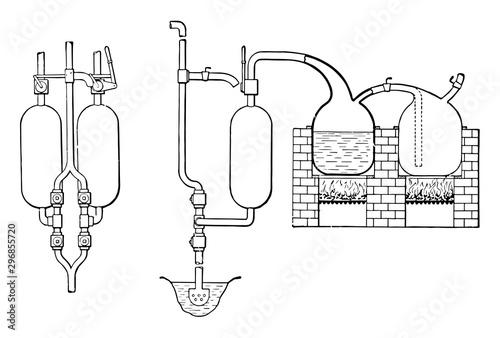 Obraz na plátně Two Vessels from Thomas Savery First Steam Engine vintage illustration