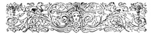 Divider Are Decorated With A Face In The Center Of Image Vintage Engraving.
