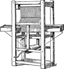 Cartwright First Power Loom Vintage Illustration.