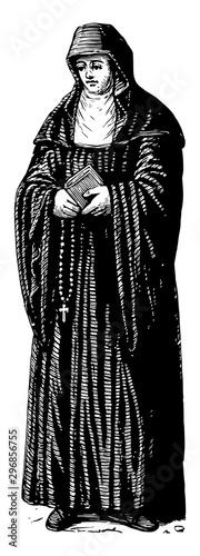 Photo Benedictine Nun vintage illustration.