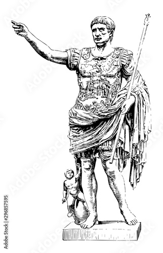 Augustus are a marble statue In the vatican vintage engraving. Wallpaper Mural