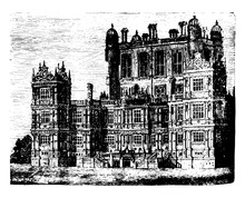 Wollaton Hall A Country House Vintage Engraving.