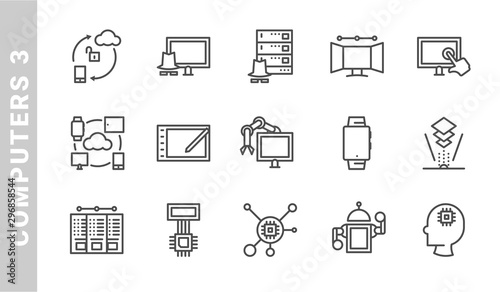 computers 3 icon set. Outline Style. each made in 64x64 pixel