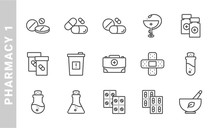 Pharmacy 1 Icon Set. Outline Style. Each Made In 64x64 Pixel