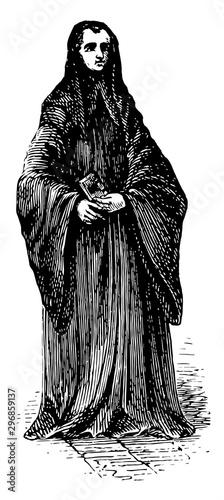 Benedictine Monk vintage illustration. Canvas Print