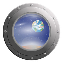 View Space Stars And Planets Through Porthole Glass Window From Spaceship