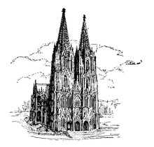 Cologne Cathedral Vintage Illu...
