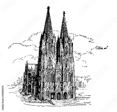 Fototapeta Cologne Cathedral vintage illustration. obraz