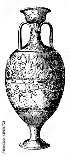 Amphora storage of various products both liquid and dry but mostly for wine vintage engraving Canvas Print