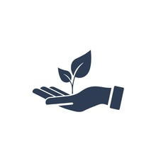 Hand, Plant. Prosperity. Vector Icon On A White Background.