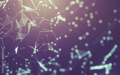Abstract background. Molecules technology with polygonal shapes, connecting dots and lines. Connection structure. Big data visualization. - 296862563