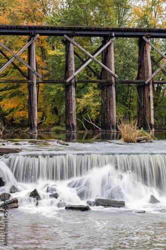 waterfall near bridge