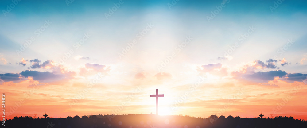 Fototapety, obrazy: Resurrection of Jesus Christ concept: God Lamb in front of the cross of Jesus Christ on sunrise background