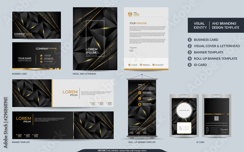 Fototapeta Modern black gold polygonal stationery mock up set and visual brand identity with abstract overlap layers background. obraz