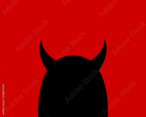 Fotografia Cartoon devil character on a red background