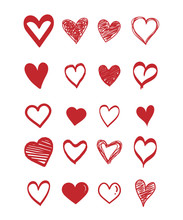 Set Of Scribble Red Hearts Icon. Collection Of Heart Shapes Draw The Hand. Symbol Of Love. Design Elements For Valentine's Day Card. Vector Hearts. Doodle. Vector Illustration.