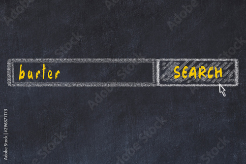 Chalkboard drawing of search browser window and inscription barter Wallpaper Mural