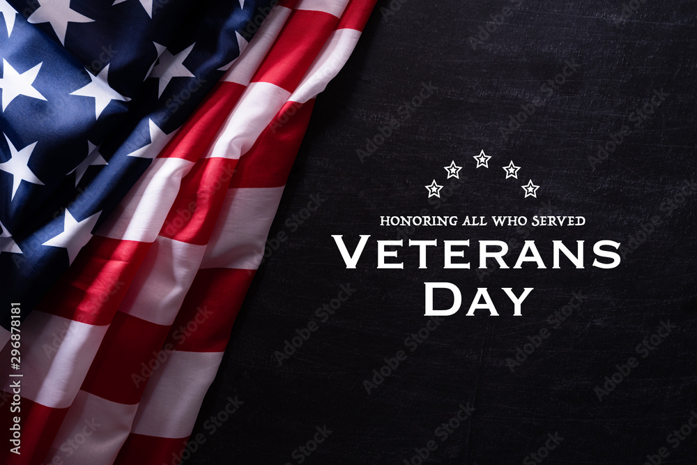 Fototapety, obrazy: Happy Veterans Day. American flags veterans against a blackboard background.