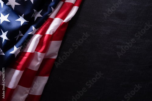 Wall Murals London Happy Veterans Day. American flags veterans against a blackboard background.