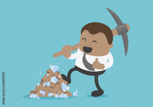 Fototapeta  Business concepts american businessmen in black suits digging a lot of diamonds