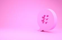 Pink Hashtag Speech Bubble Ico...