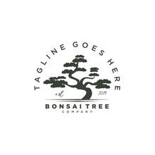 Vintage Bonsai Tree Logo Design Template