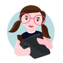 Little Girl Bad Habit For Mobile Vector Illustration