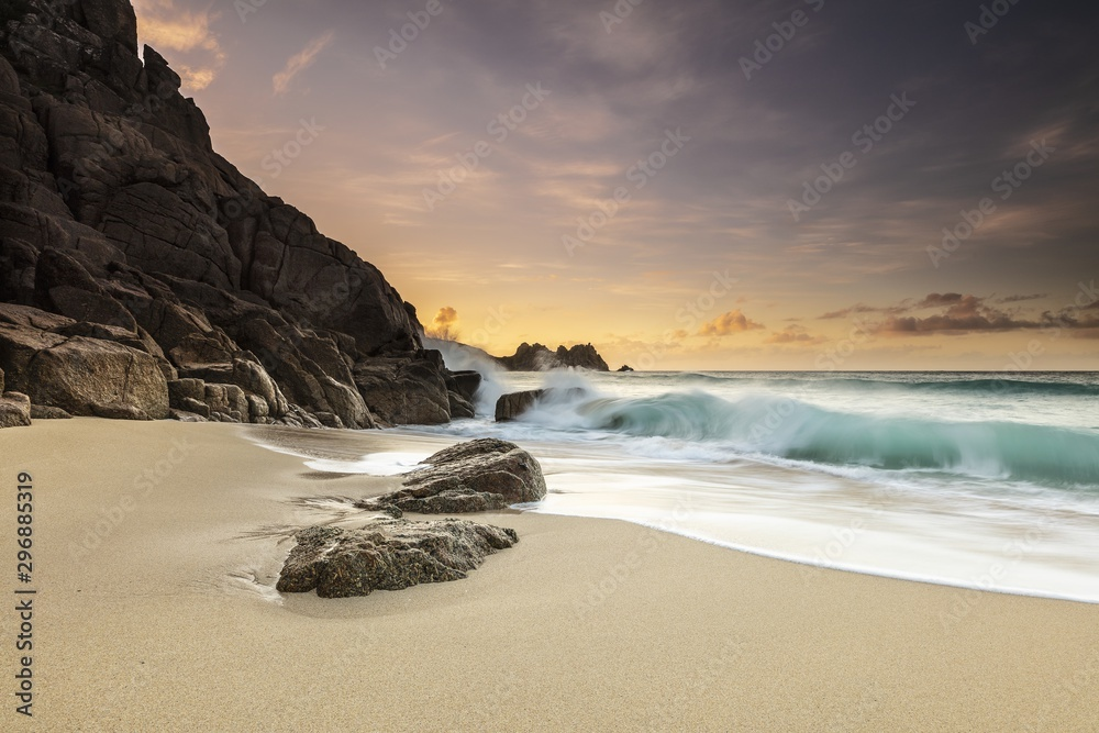 Fototapety, obrazy: Bright sunny day at the sandy shore of the ocean in Porthcurno, Cornwall, UK