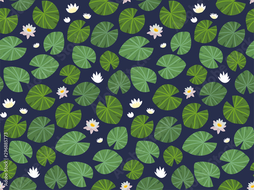 Fototapeta Seamless vector pattern with water lilies and white Lotus flowers on dark background in hand drawn style
