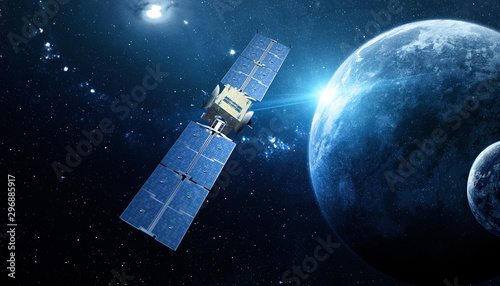 sapce satellite technology background - 296885917