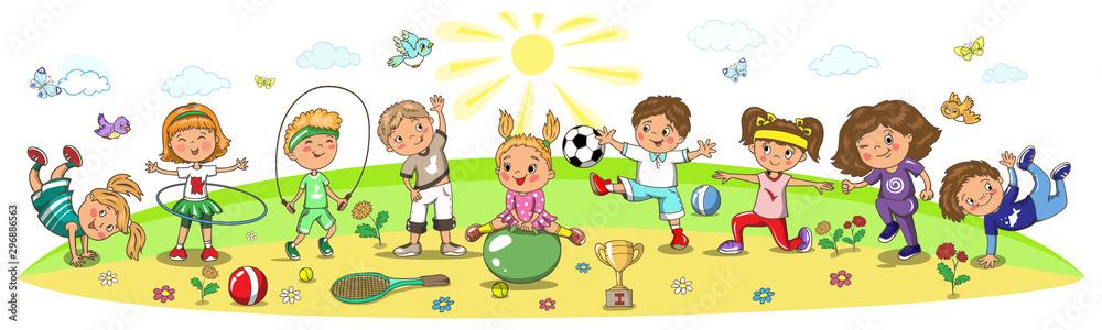 Fototapeta Kindergarten, school children sport activity. Soccer, running, jumping, football, tennis, gymnastic