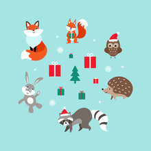 Christmas Set Of Cute Cartoon Woodland Animals. Nice Characters With Presents And Snow. Flat Vector Illustration.