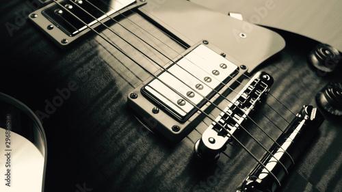 electric guitar closeup . black and white - 296888510