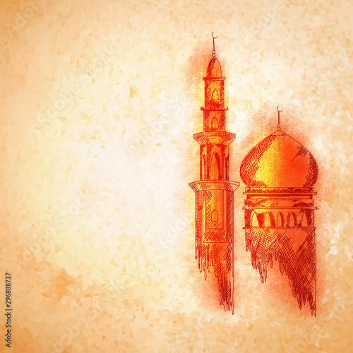 Orange Mosque for Islamic Festivals concept. Wallpaper Mural