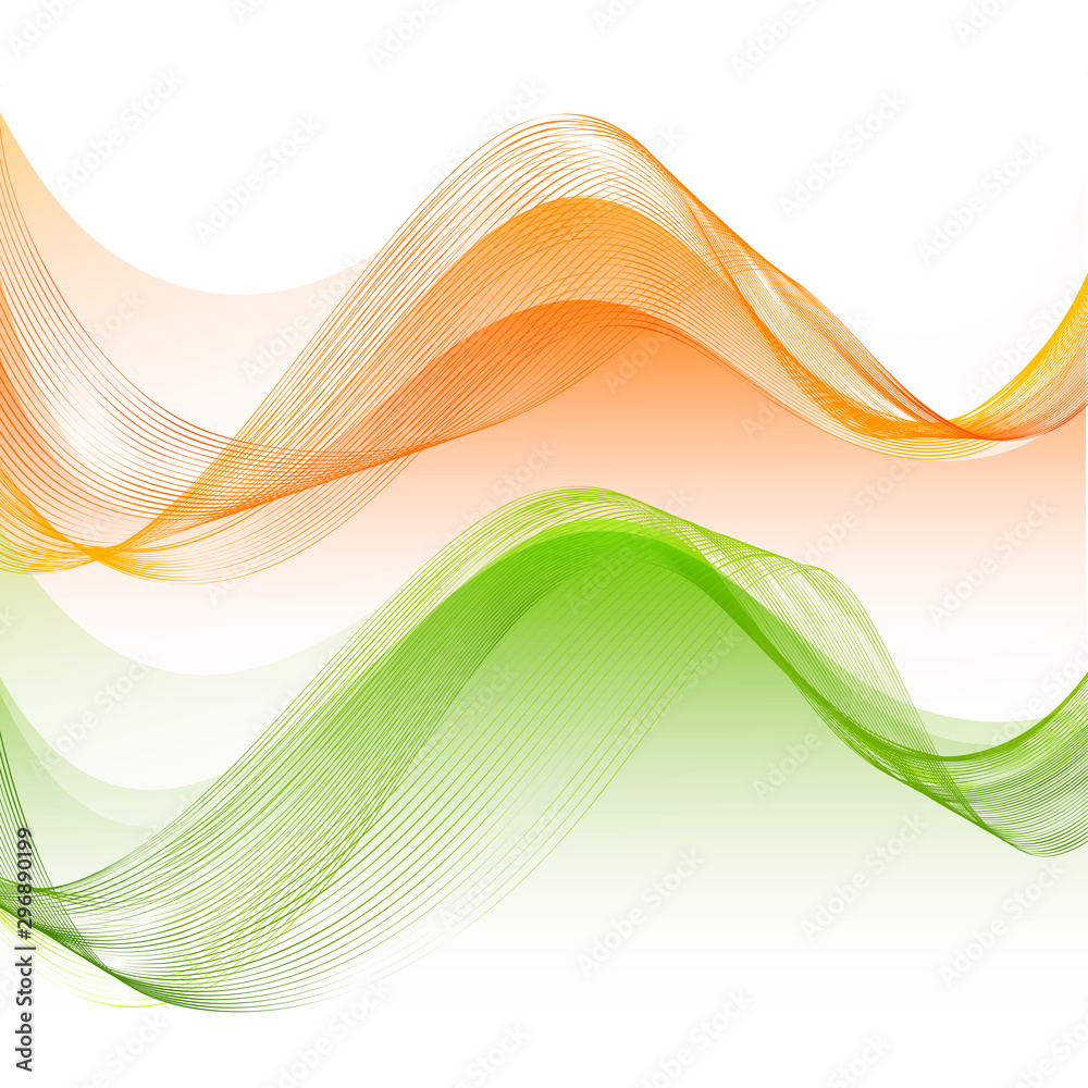 Fototapety, obrazy: Saffron and Green colors flowing waves design.