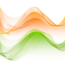 Saffron And Green Colors Flowing Waves Design.
