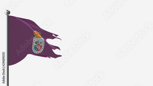 Soria 3D tattered waving flag illustration on Flagpole. Perfect for background with space on the right side.