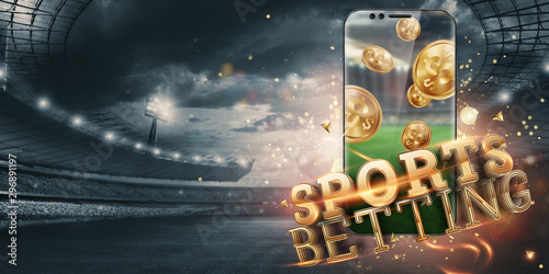 Gold inscription Sports Betting on a smartphone on the background of the stadium Canvas Print