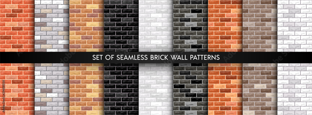 Fototapeta Vector brick wall seamless background set. Realistic different color brick textures collection