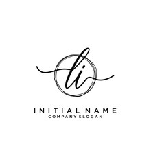 LI Initial Handwriting Logo With Circle Template Vector.