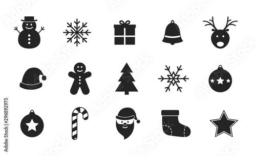 Fotografie, Obraz Collection of Christmas icons on white background. Vector