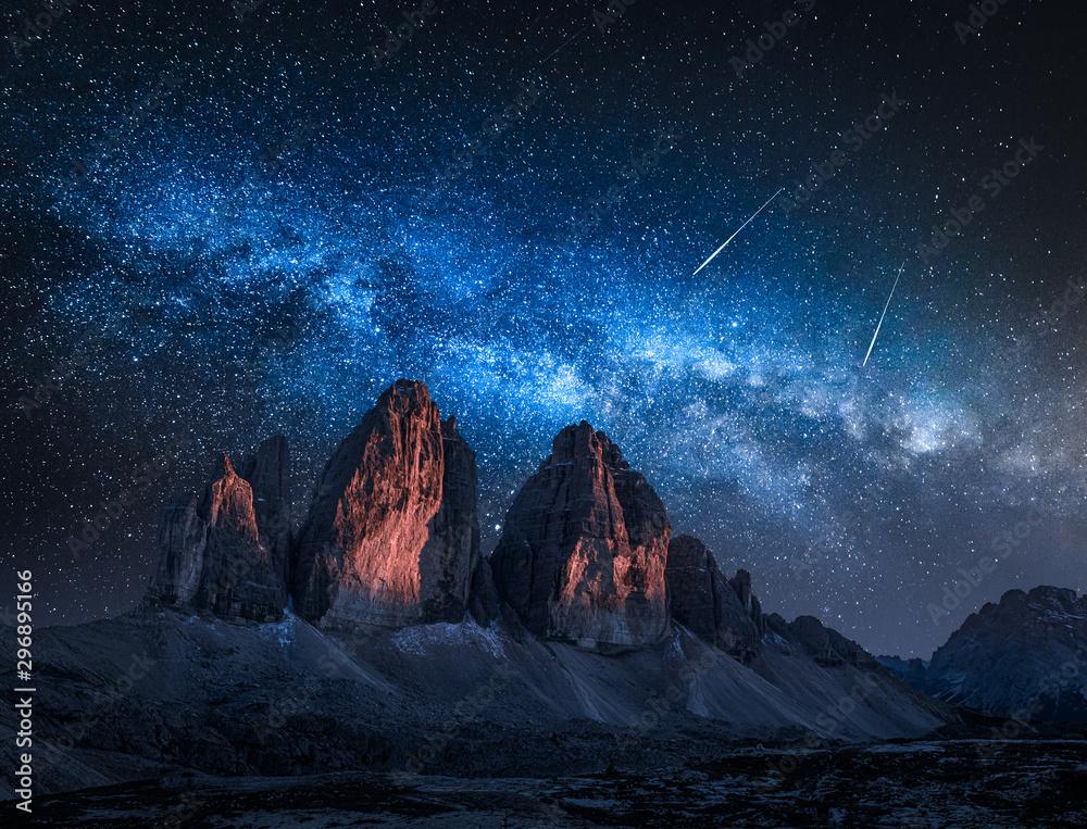 Fototapeta Milky way over Tre Cime di Lavaredo at night, Dolomites