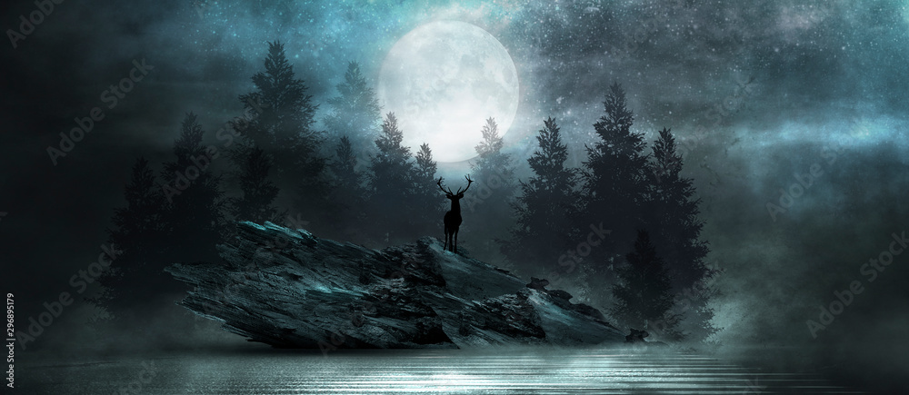 Fototapeta Futuristic night landscape with abstract forest landscape. Dark natural forest scene with reflection of moonlight in the water, neon blue light. Dark neon circle background, dark forest, deer.